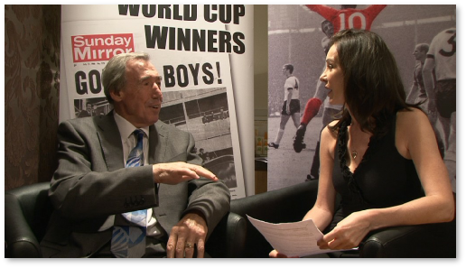<strong>Yvette interviewing Gordon Banks</strong>